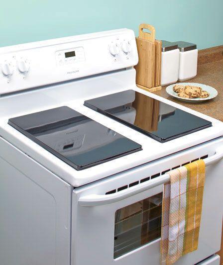 2 black electric stove burner cover set rectangular extra kitchen