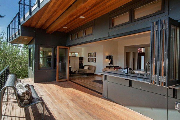 Salon et cuisine ouverts sur l 39 ext rieur maison - Idee amenagement cuisine ouverte sur salon ...