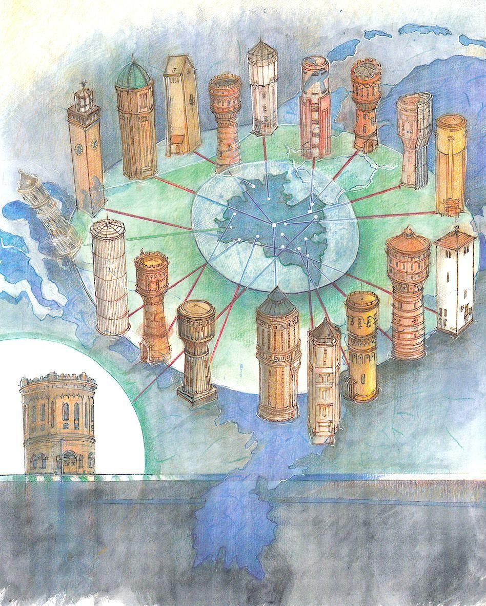 Watertorens provincie Utrecht - een ingekleurde tekening van Tom Eyzenbach uit 1996