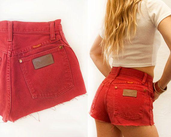 XS Red Hot High Waisted Wrangler Cutoffs | Red Denim Shorts Daisy ...