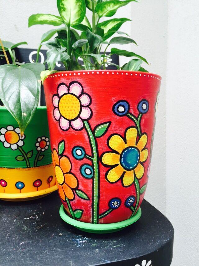 Flores Fondo Rojo Macetas Pintadas Macetas Decoradas Macetas De Plantas Pintadas
