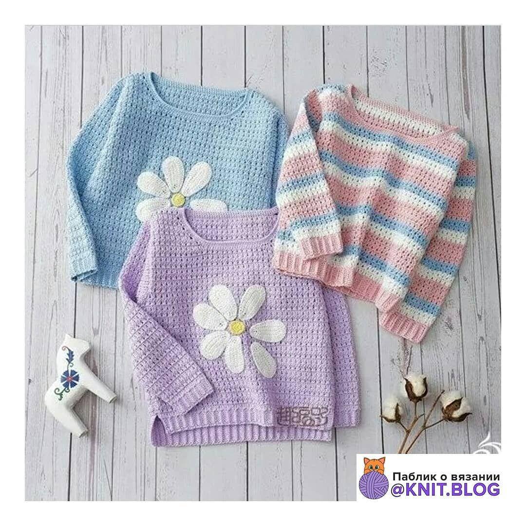 Пуловер с ромашкой. Схема вязания на следующих фото. Осень ...