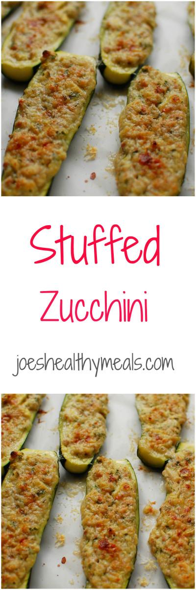 Stuffed zucchini - Tasty way to use your zucchini.  Spice it up!  | joeshealthymeals.com