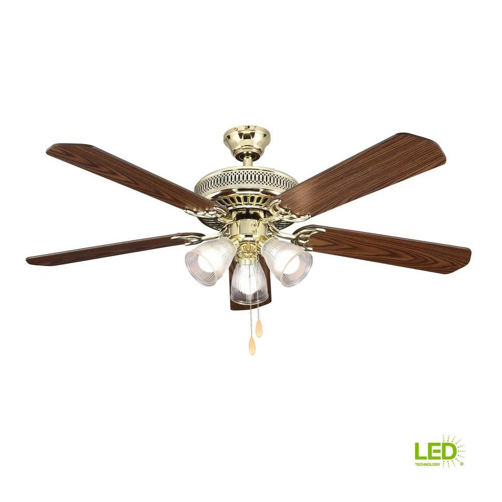 Hampton Bay 52 In Led Landmark Indoor Polished Brass Ceiling Fan With Light Kit Hl52qvp 3lc14 C The Home Depot Ceiling Fan With Light Brass Ceiling Fan Ceiling Fan