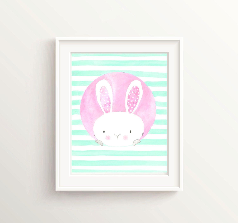 Bunny Print Nursery Art Kawaii Baby Wall
