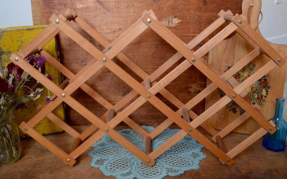 Best Vintage Rustic Wood Wooden Collapsible Accordion Wine Rack 400 x 300