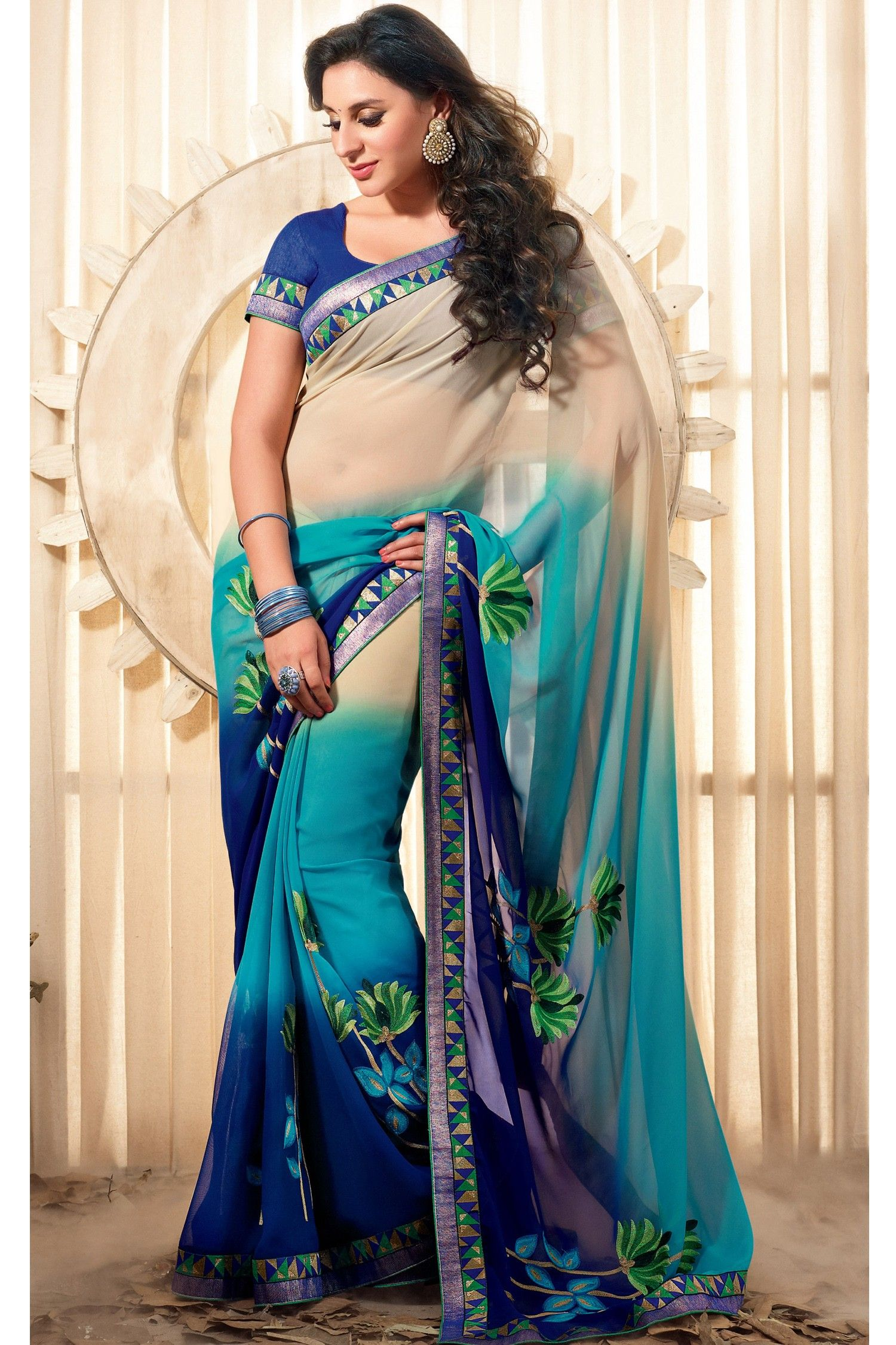 Saree for freshers party in college vivacious cream and blue georgette sareejks  designer saree