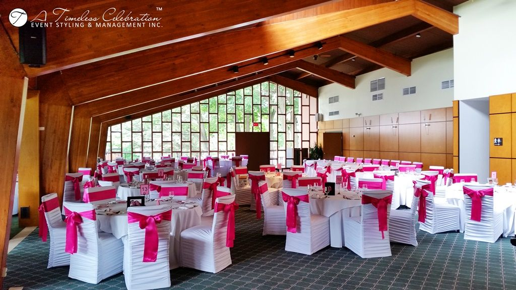 Wedding Chair Covers Montreal Discount Desk Chairs Modern Chic Reception Ruffled Rouge Fuchsia Sashes A Timeless Celebration Florist Decorator