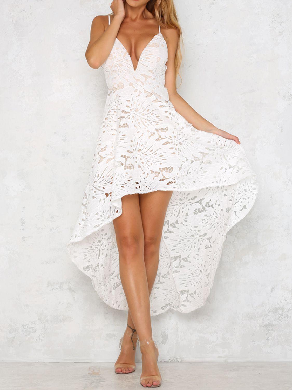 White Spaghetti Strap Plunge Lace Hi Lo Dress Maxi Dress Beautiful Lace Dresses Floral Maxi Dress [ 1500 x 1125 Pixel ]