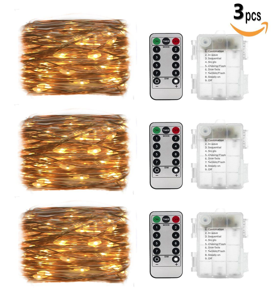 3Set 20ft 60 Led Fairy Lights, Battery Operated Waterproof Copper ...