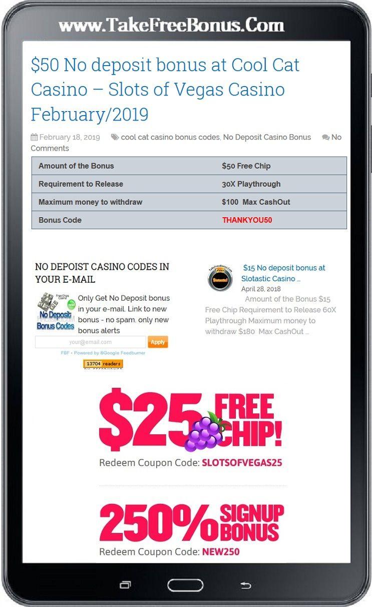 $50 No deposit bonus at Cool Cat Casino – Slots of Vegas
