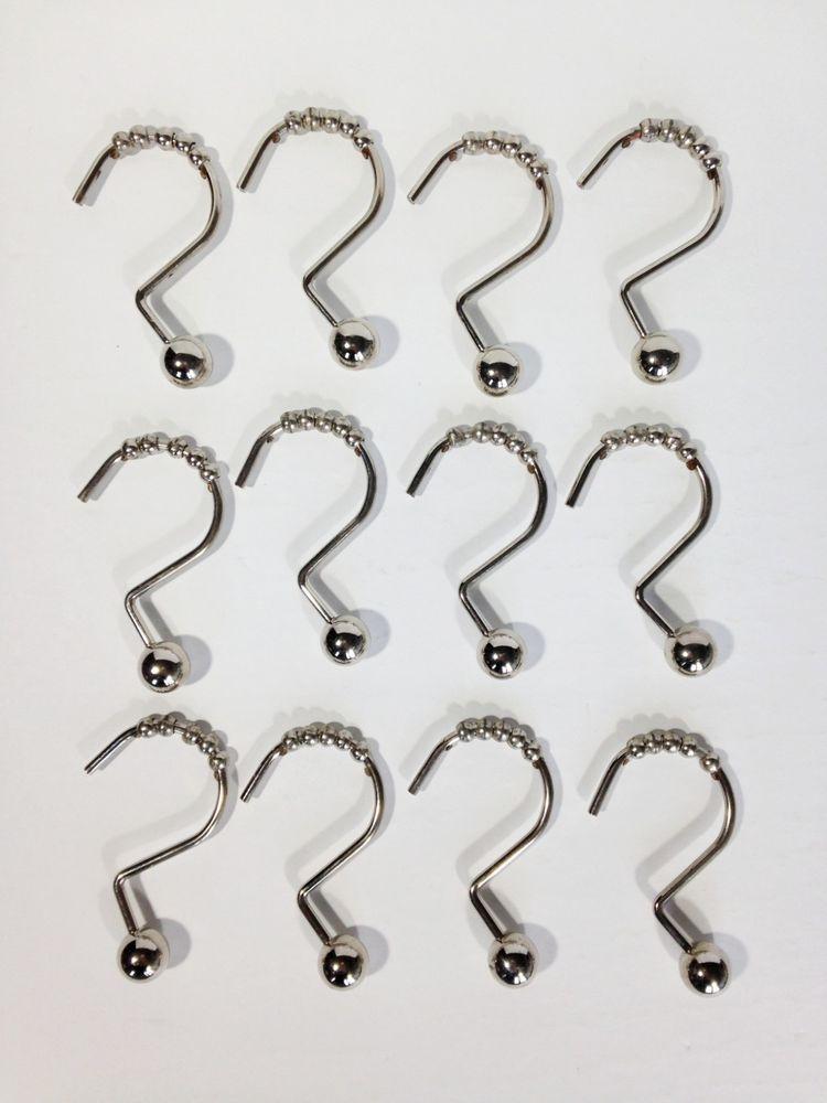 Bead Shower Curtain Hooks Chrome Beaded Set Of 12 Unbranded