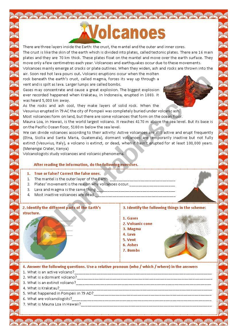 These Two Worksheets Contain Reading Comprehension Exercises Vocabulary About About Volcanoes Volcano Worksheet Cloze Reading Reading Comprehension Worksheets