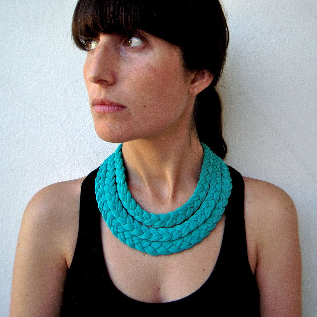 The triple braid necklace - handmade in emerald fabric. $26.00, via Etsy.