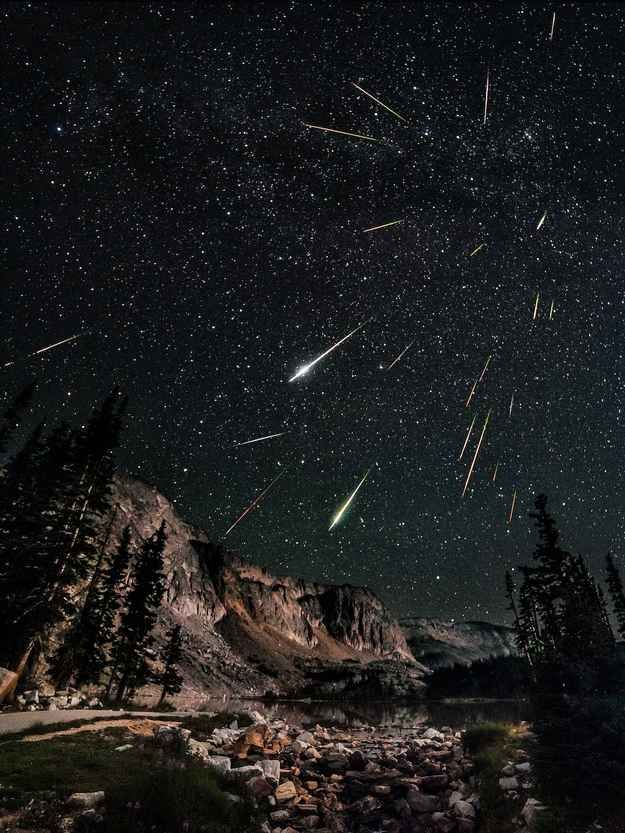 Perseid meteor shower seen from Snowy Range in Wyoming.