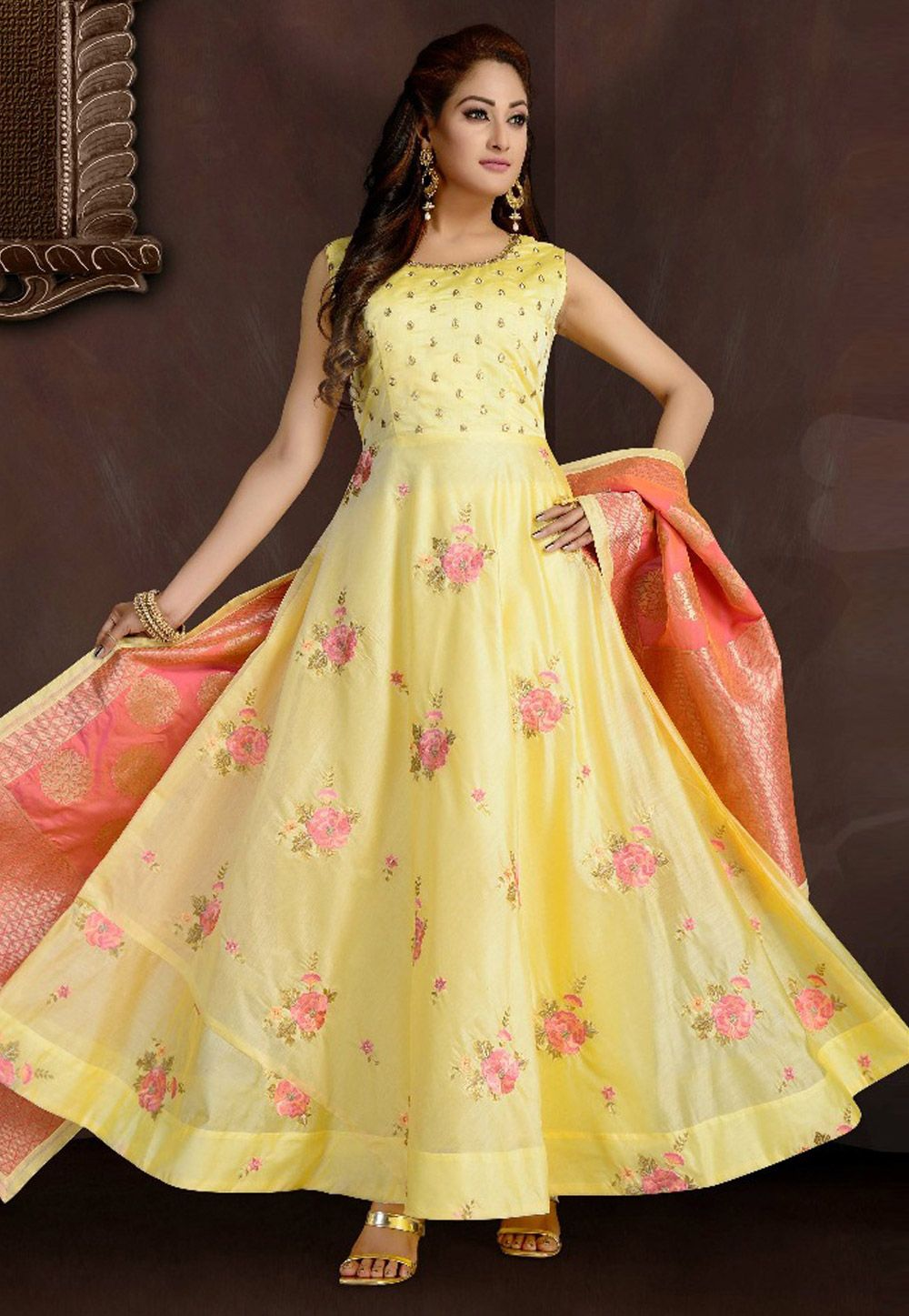 3f32fb4d547 Buy Light Yellow Chanderi Readymade Ankle Length Anarkali Suit 162457 online  at lowest price from huge collection of salwar kameez at  Indianclothstore.com.