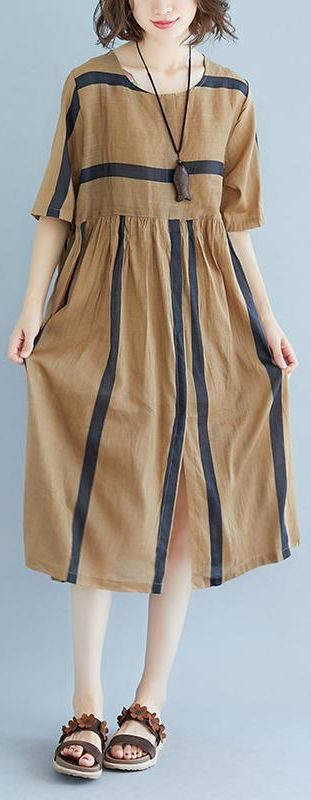 adfaa7e990c1 baggy Tencel linen summer dress plus size Short Sleeve Round Neck Pockets  Stripe Pleated Slit Dress in 2018