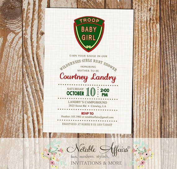 Camping Baby Shower invitation - Troop Beverly Hills inspired campout invitation - Smores baby shower - no color changes by NotableAffairs