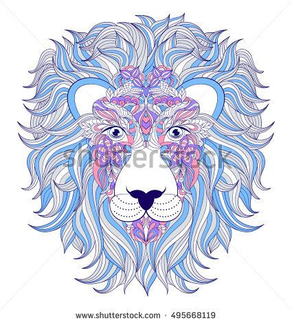 Vector illustration of head of lion on white background.