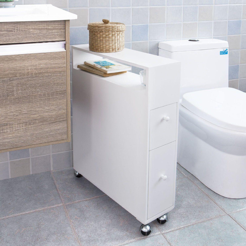 SoBuy FRG51-W Meuble de rangement à roulettes WC, Porte-papier toilettes, Porte brosse WC ...