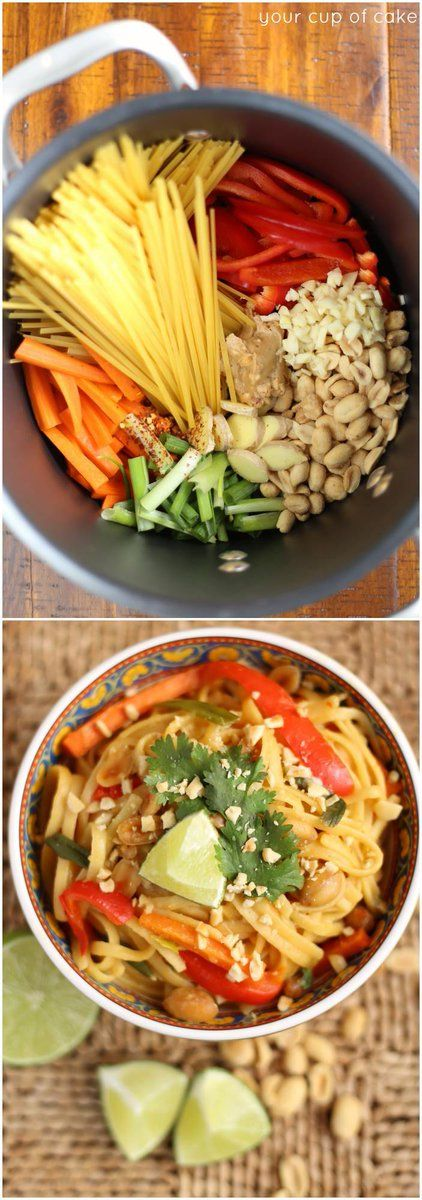 One Pot Thai Peanut Pasta - Your Cup of Cake - http://goo.gl/9WGzZ6