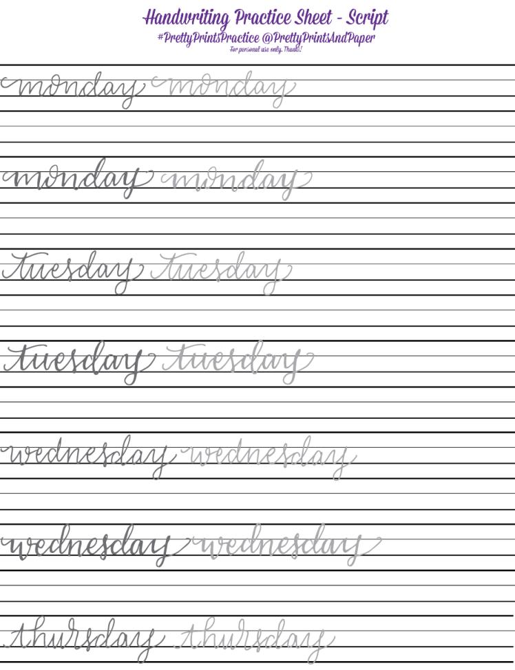My Handwriting & Lettering Part 1: Script Hand Lettering Worksheet, Hand  Lettering Practice Sheets, Lettering Practice