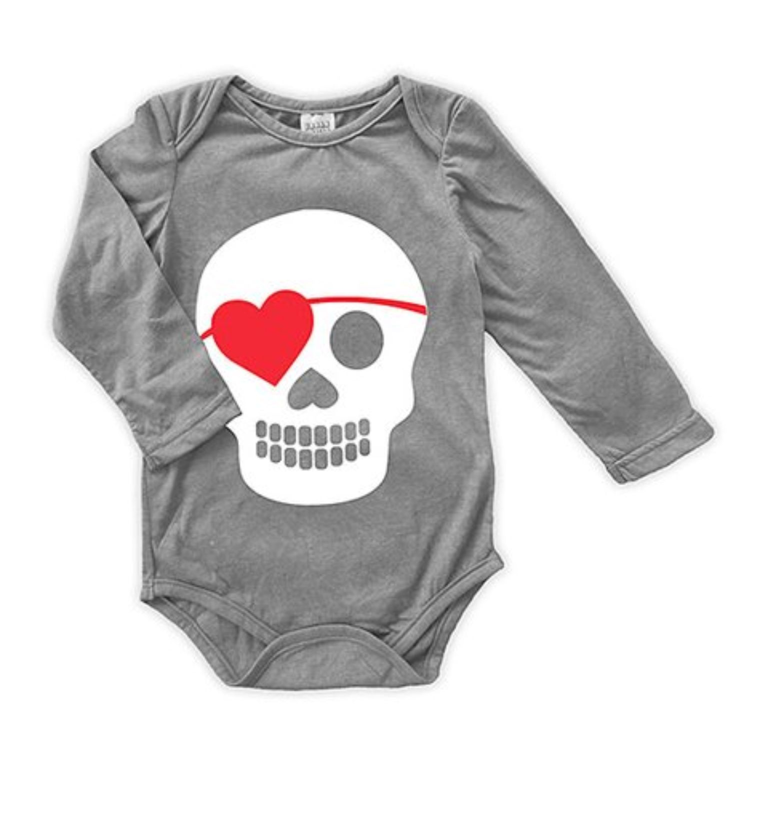 Heather Gray Heart Pirate Long Sleeve Bodysuit Infant
