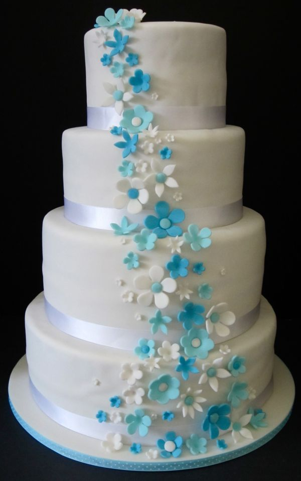 Baby Blue And Purple Wedding Cakes