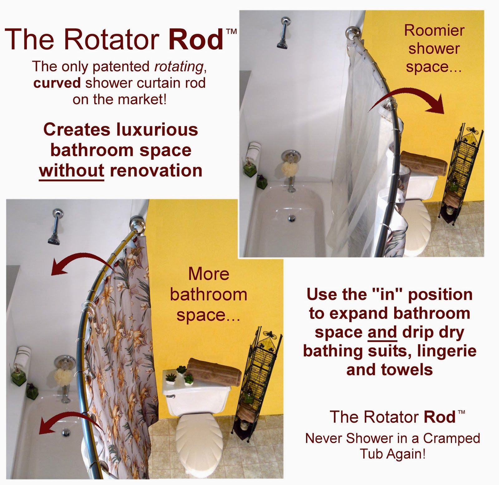 Curved Shower Curtain Rods Bring Luxury To Small Bathrooms Shower Curtain Rods Curtain Rods Shower Rod