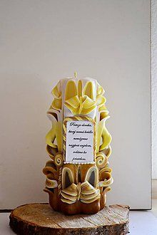 Svietidlá a sviečky - Ručne rezaná sviečka - 4187437_