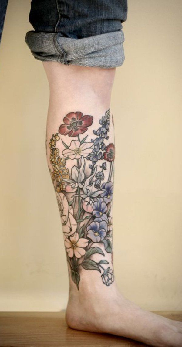 50+ Amazing Calf Tattoos | Flower Tattoos | Tattoos ...