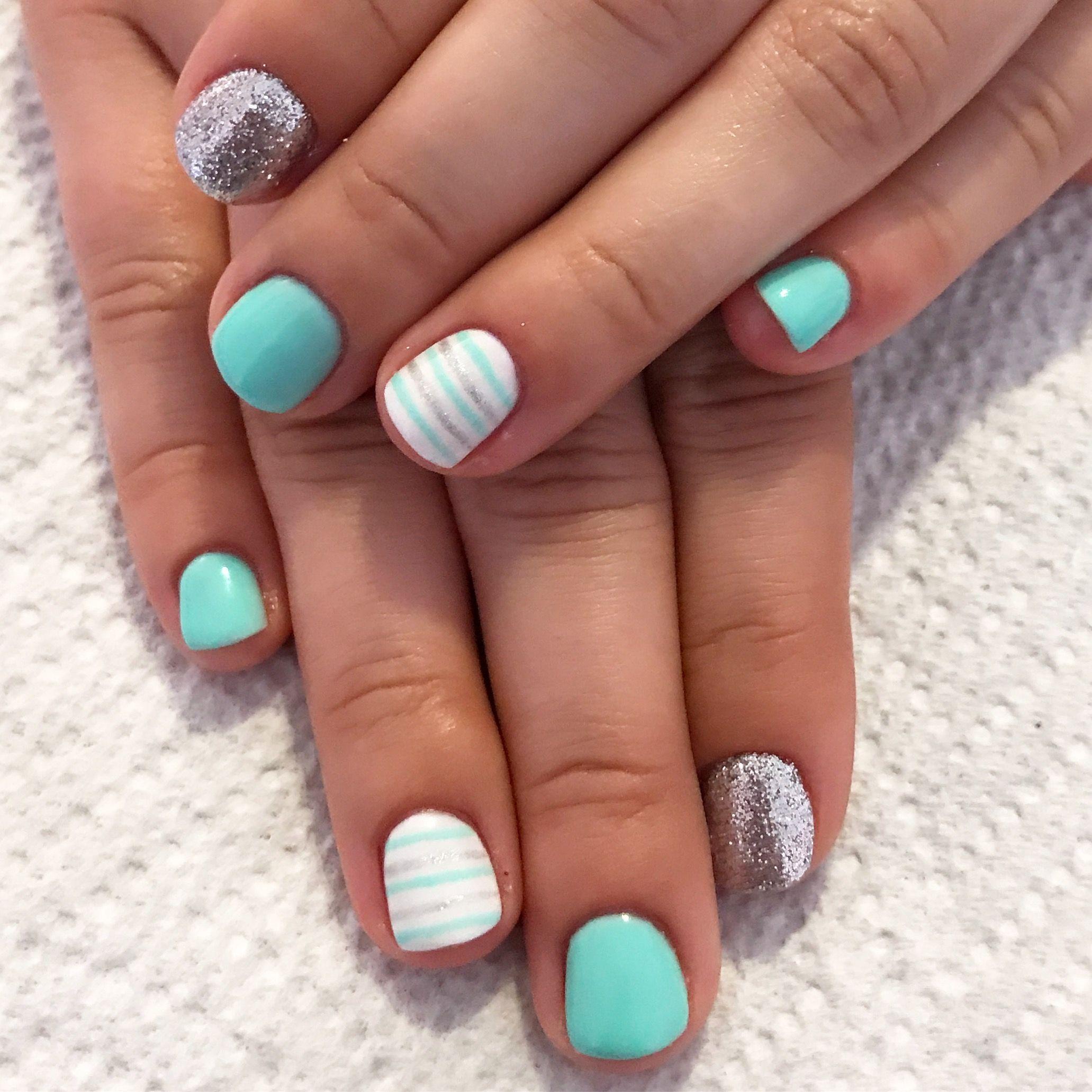 tiffany blue nails. white