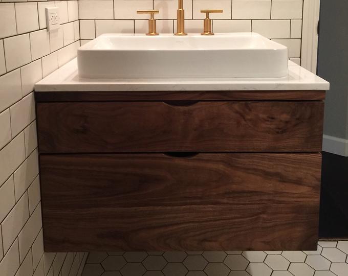 Best Mid Century Style 30 Bathroom Vanity Cabinet Walnut 400 x 300