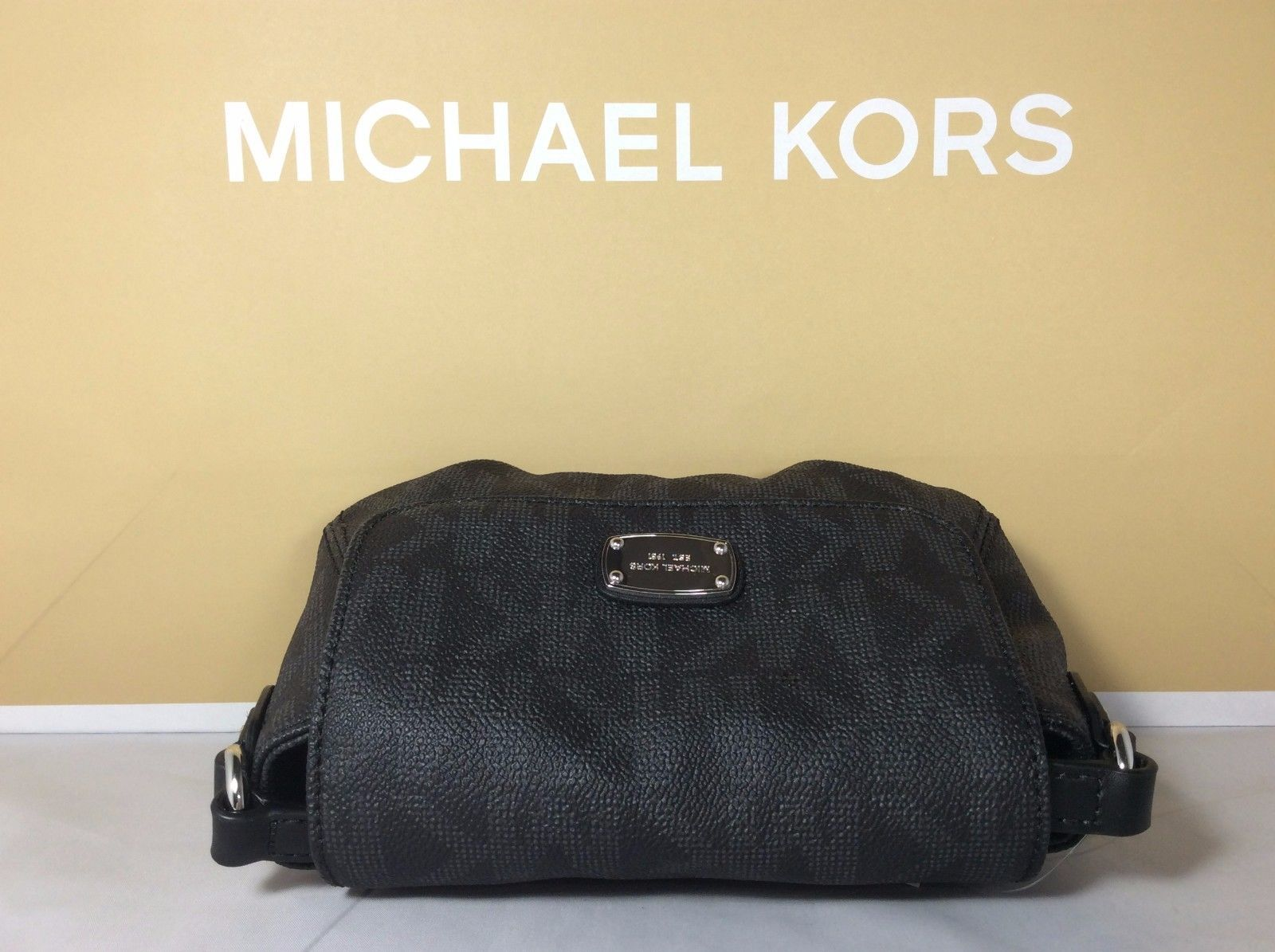 c0583baae0a3 NWT Authentic Michael Kors Black Signature PVC Small Flap Crossbody Bag  Purse  77.99