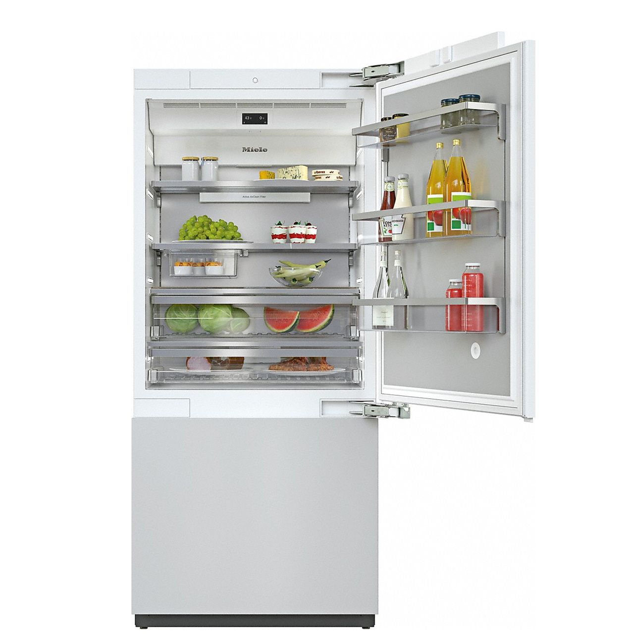 19.6 Cu. Ft. Total Capacity/ 14 Cu. Ft. Refrigerator/ 5.6 Cu. Ft.Freezer/ DynaCool/ MasterSensor Controls/ Push2Open/ Pull2Open/ Master Fresh Storage Drawers/ Drop And Lock Door Bins/ FullView Extendable Drawers/ BrilliantLight/ SuperCool/ SuperFreeze/ NoFrost/ Built-In Ice Maker/ WifiConn@ct/ Sabbath Mode/ Right Hinge/ Custom Panels Required/ Panel Ready Finish