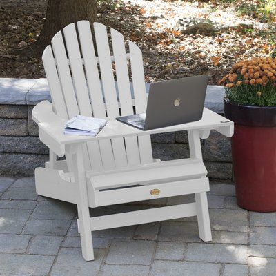 Longshore Tides Camacho Plastic Folding Adirondack Chair With Table Colour White In 2020 Folding Adirondack Chairs Patio Chairs