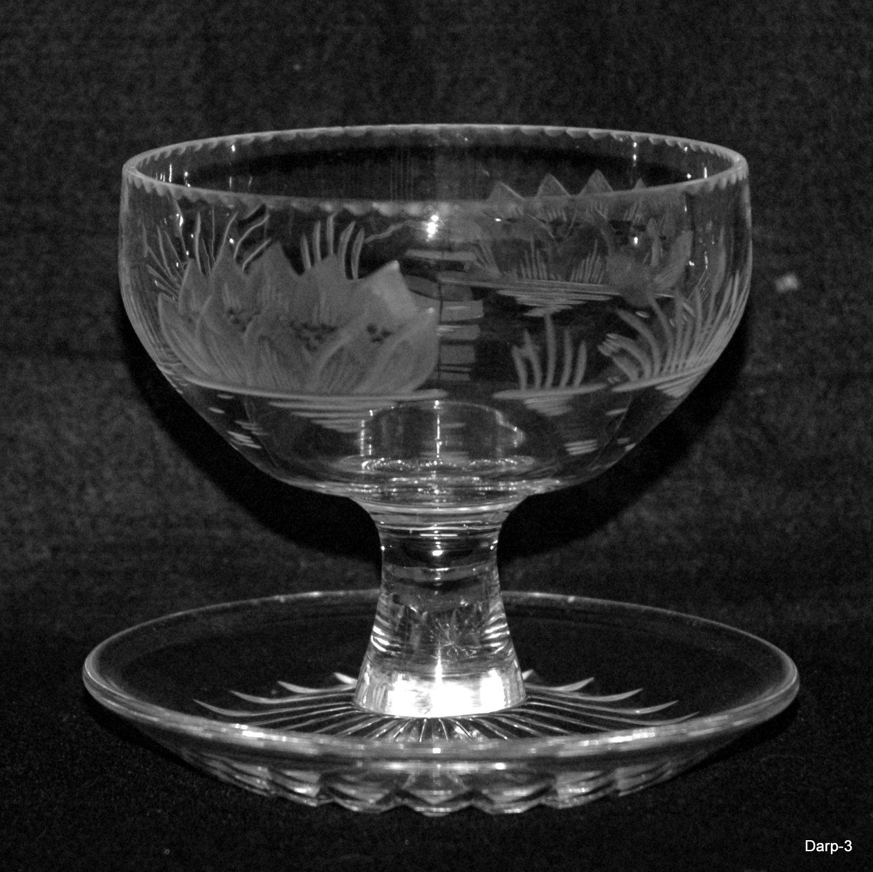 Vintage cut etched crystal glass sundae dish bowl with water lily vintage cut etched crystal glass sundae dish bowl with water lily engraving and integrated saucer reviewsmspy