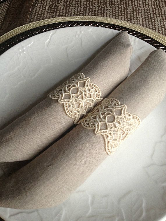 Set of 6 Custom Embroidered Lace Napkin Rings in Bone Chocolate
