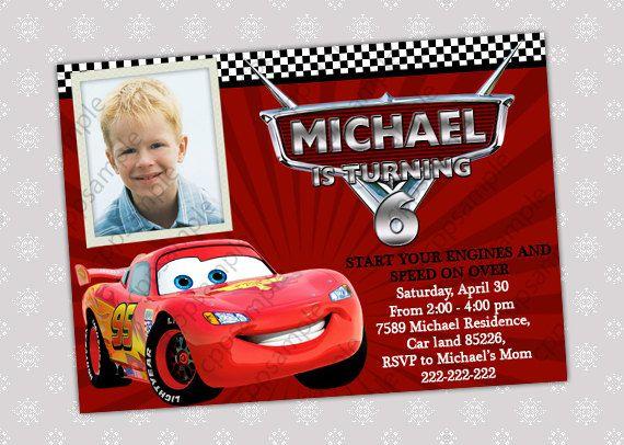 Disney Cars Rayo McQueen foto invitación fiesta de cumpleaños archivo Digital THIAGO