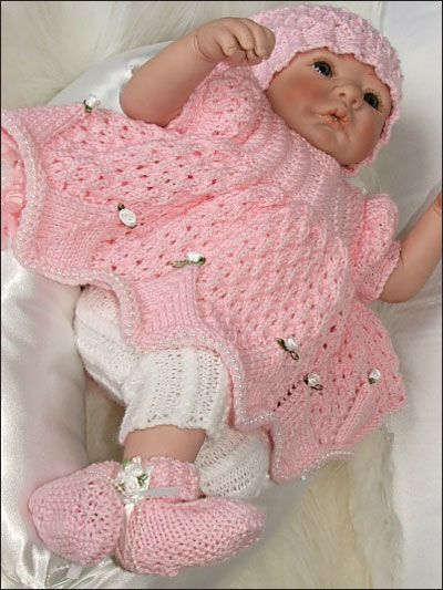 Smock Style Set ~ this set incl. 3 sizes: Preemie, NB & 0-3 mos. ~ intermediate skill ~ smock-style top with leggings, bandana & Mary-Jane shoes - looking good! ~ yarn weight depends on size you choose ~ I love those leggings - so girly & cute! ~ KNIT