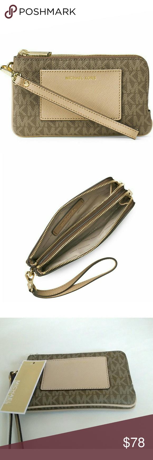 bc9c101a14c1 MICHAEL KORS Double Zipper Wristlet w Pocket MICHAEL Michael Kors Bedford  Medium Double Zip Wristlet with Pocket This stylish MICHAEL Michael Kors  Medium ...