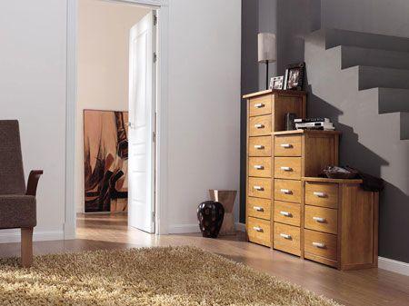 Mueble escalera para la entrada   Escalera, Madera de pino maciza y ...