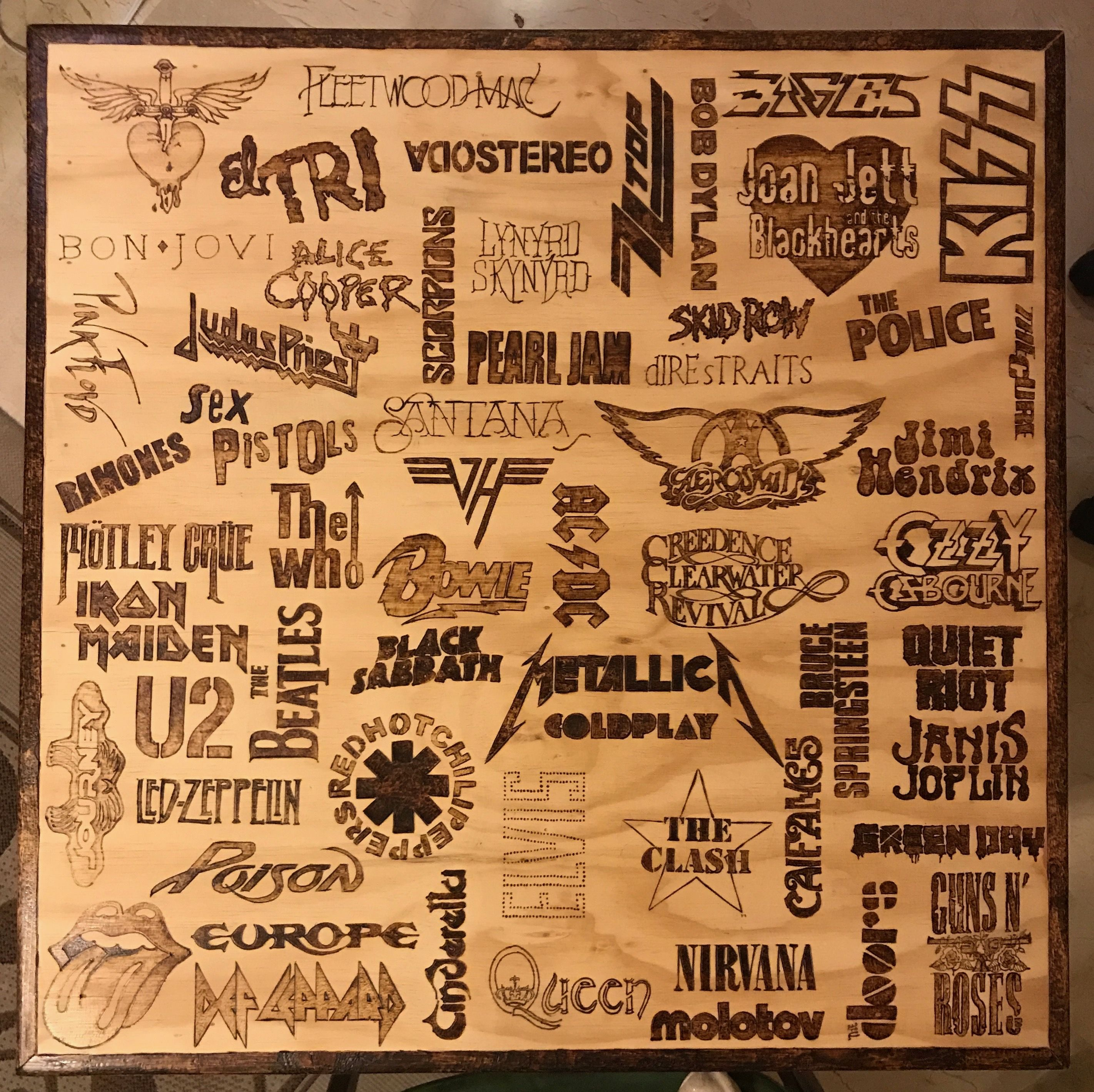 Wood burned table, Rock and Roll Logos Wood burning