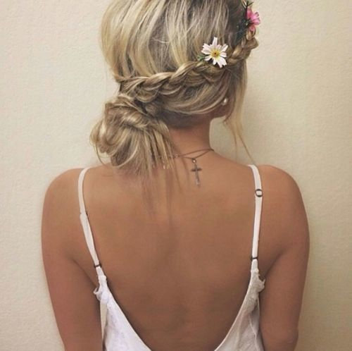 Braid with a messy bun. Cute easy hair do!!!