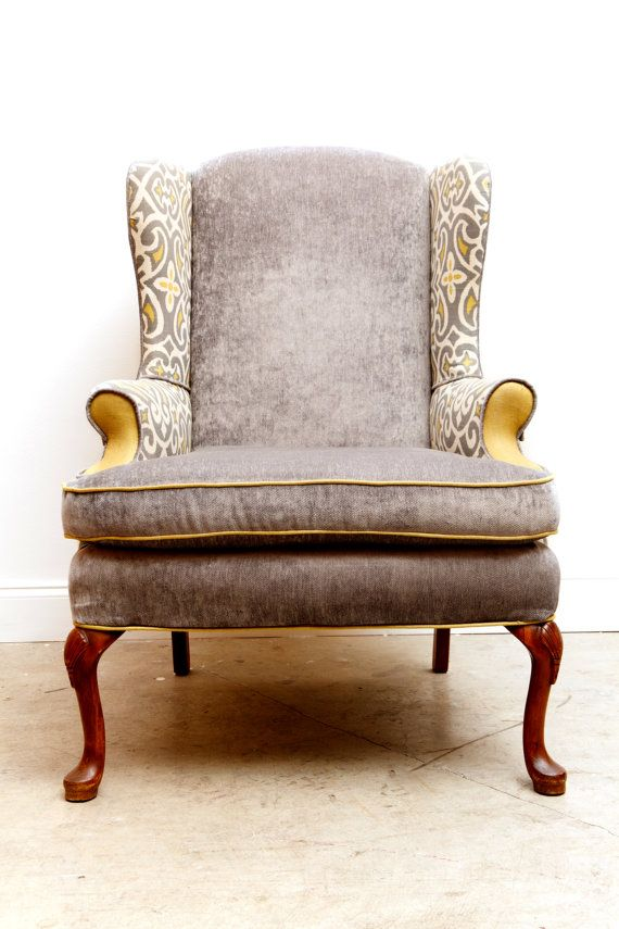 i like the idea of mixing fabrics on this velvet wingback chair