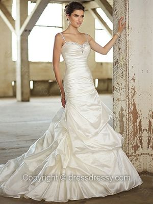 Sheath/Column Spaghetti Straps Satin Chapel Train White Pick-Ups Wedding Dresses -$287.69