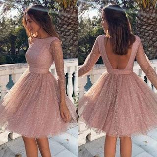 اشيك فساتين قصيره منفوشه Elegant Dresses Short Homecoming Dresses Long Pink Homecoming Dress