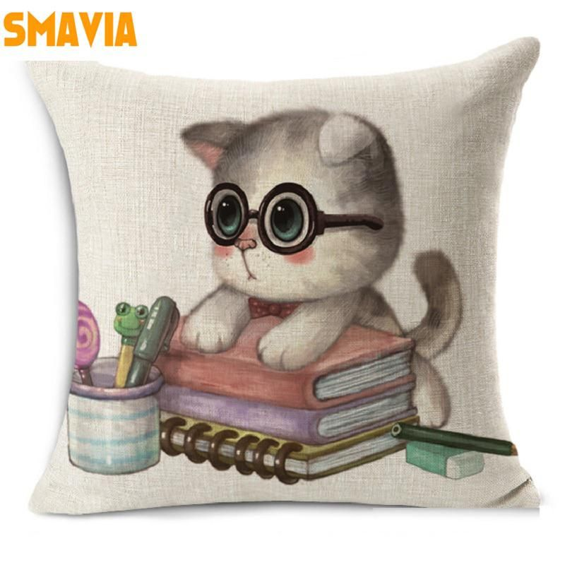 6f4320871afa Cute Lovely Cat Cushion Cover Decorative Cotton Linen Square Throw Pillow  Cover for Office Car Couch Home 45 45cm Decor-9 Colors.