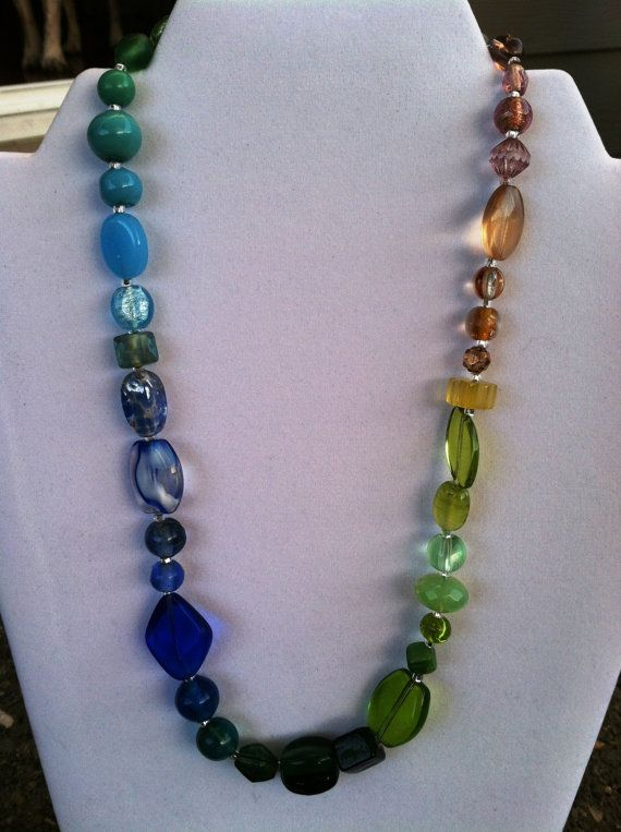 Mixed Glass Rainbow Necklace with Dark Green by TripIntoLight, $23.00