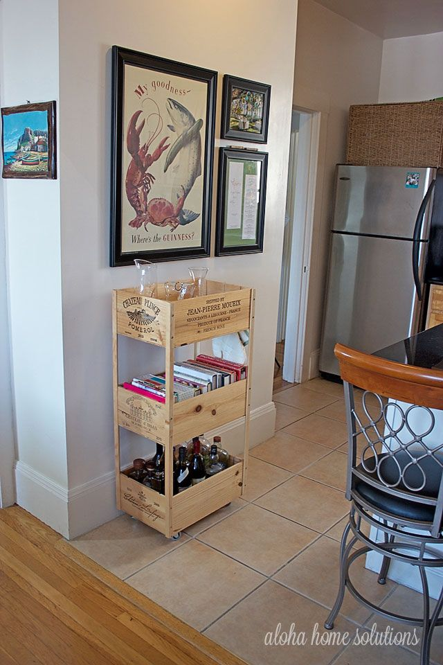 Recycled Wine Crate Rolling Cart With